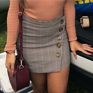Checkered girly button up skirt